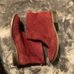Maroon suede MIA exhibit booties